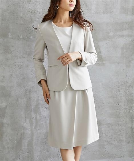 ドットダブルジャージースカートスーツ(カラーレスジャケット+...