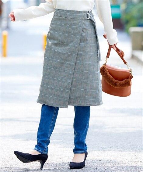 [防風&防寒で寒さ知らず]ラップスカート (ひざ丈スカート)...
