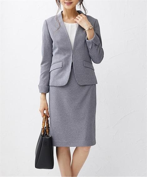 杢調カットソー素材スカートスーツ(カラーレスジャケット+タイ...