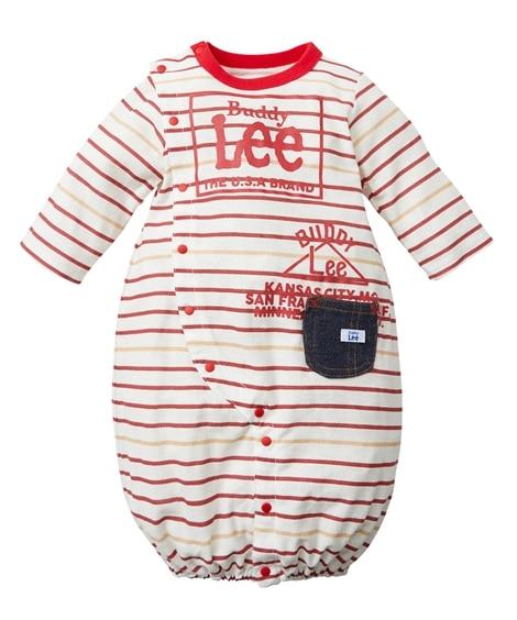 【Buddy Lee】薄手梨地コットン ロゴプリントボーダー長袖ツーウェイオール(男の子。女の子 子供服。ベビー服) 【ベビー服】Babywear