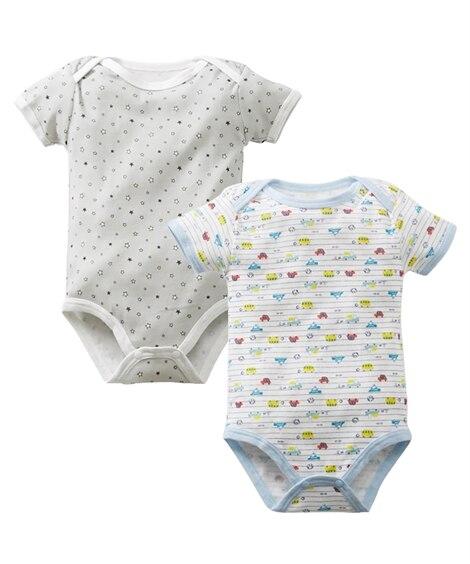 コットンフライス半袖ボディスーツ2枚組(男の子・女の子 子供服・ベビー服) 【ベビー服】Babywear