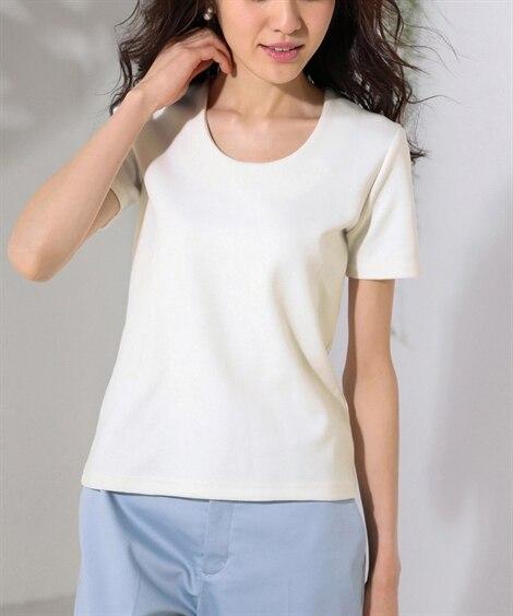 透けにくいポンチクルーネックトップス (Tシャツ・カットソー...