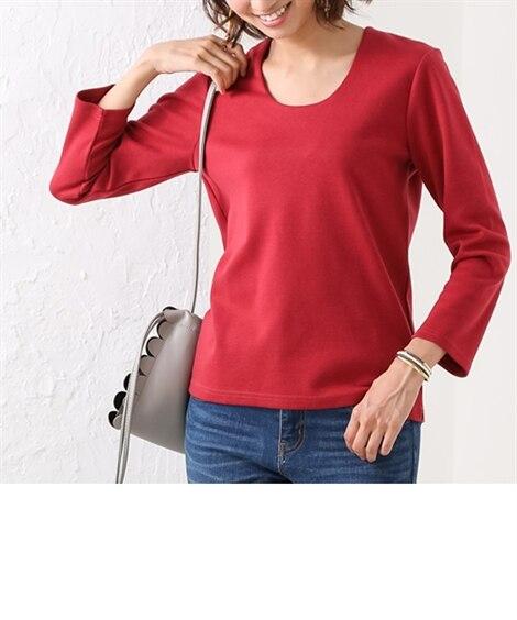 透けにくい8分袖クルーネックカットソートップス Tシャツ・カ...