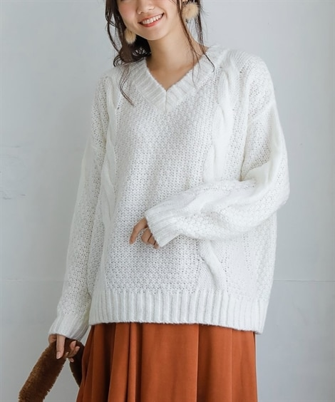 かのこ編Vネックセーター (ニット・セーター)(レディース)