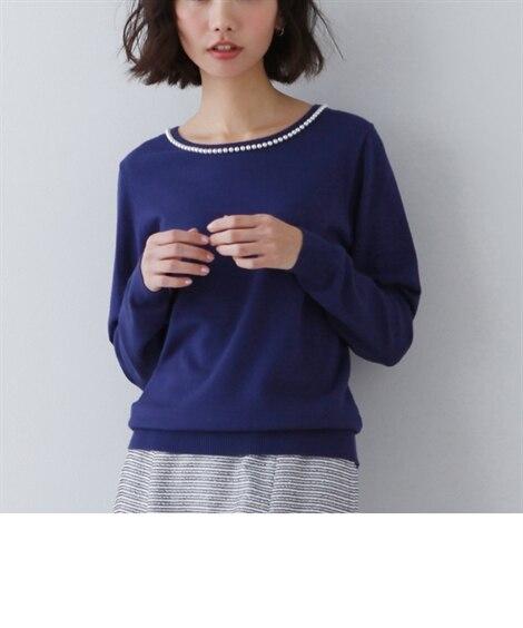パール調ビーズ付セーター (ニット・セーター)(レディース)