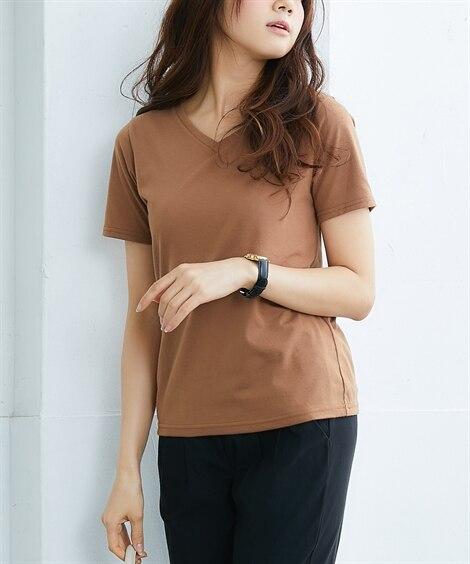 汗じみにくいVネックカットソー (Tシャツ・カットソー)(レ...