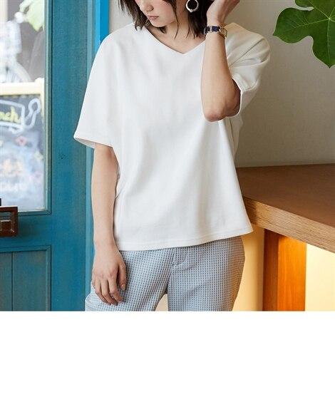 透けにくいポンチドルマントップス (Tシャツ・カットソー)(...