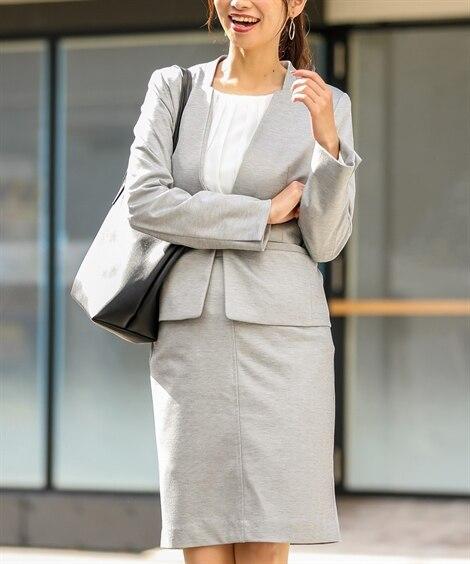 小さいサイズ シャンブレーニットスカートスーツ(カラーレスジ...