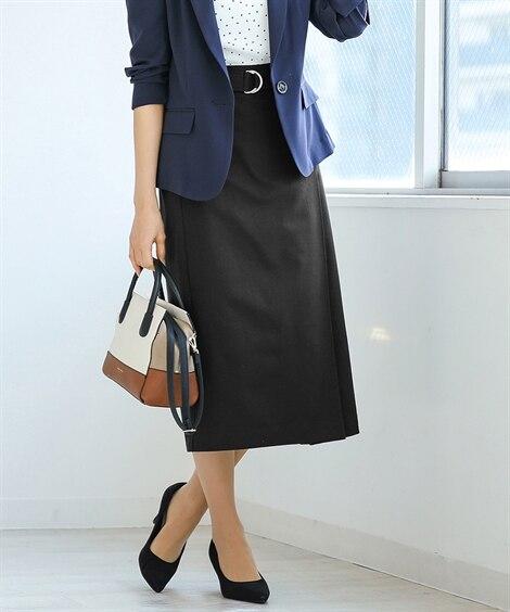 さらっと快適♪リネンブレンドIラインスカート (ひざ丈スカー...
