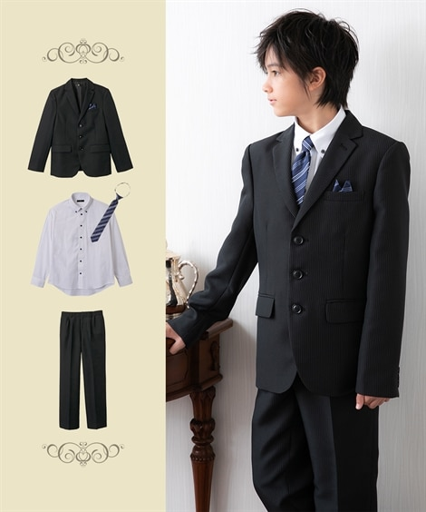 【卒業式】フォーマルスーツ3点セット(ジャケット+シャツ+パ...
