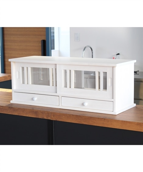 引き戸カウンター上ラック 80cm幅 食器棚, Cupboa...