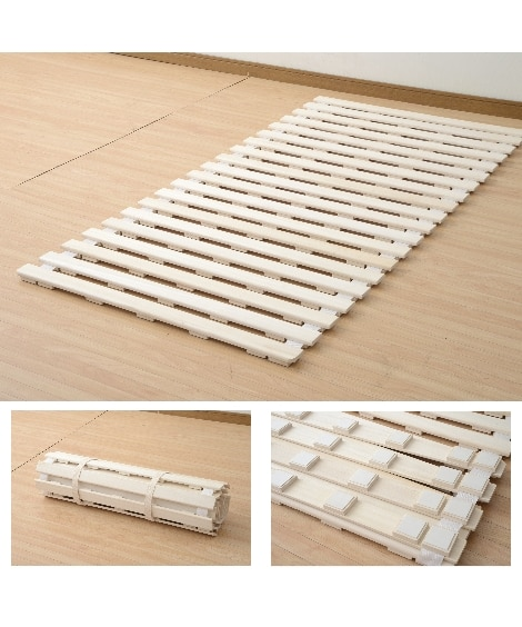 天然木桐製クッション付きすのこロールベッド ベッド(ニッセン...
