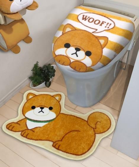 いぬのトイレマット&フタカバーセット トイレマット&フタカバ...
