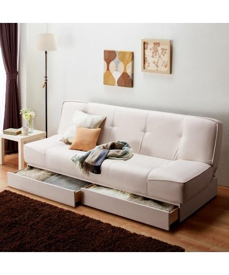 引き出し付合皮ソファーベッド ソファーベッド(ニッセン家具)