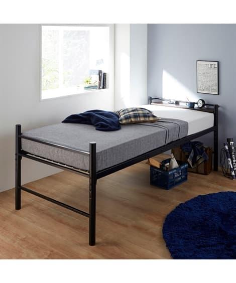 コンセント付ベッド下に収納たっぷりできるパイプベッド ベッド...