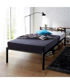 <ニッセン>木棚。コンセント付パイプベッド ベッド(ニッセン家具)画像