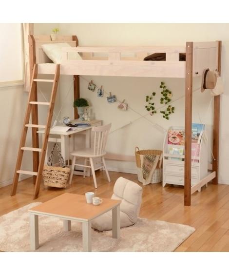天然木パイン材のロフトベッド ロフトベッド・2段ベッド(ニッ...