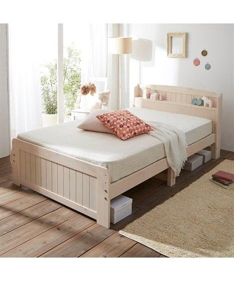 天然木パイン材高さが変えられる宮付ベッド すのこベッド・畳ベ...