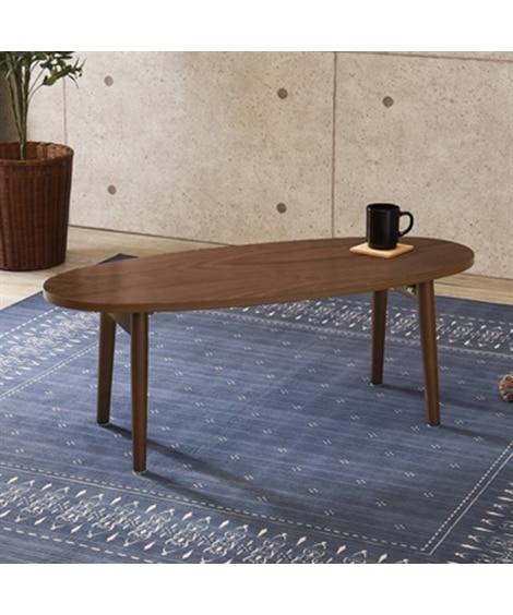 木目が美しい天然木突板の折りたたみテーブル(オーバル) ロー...