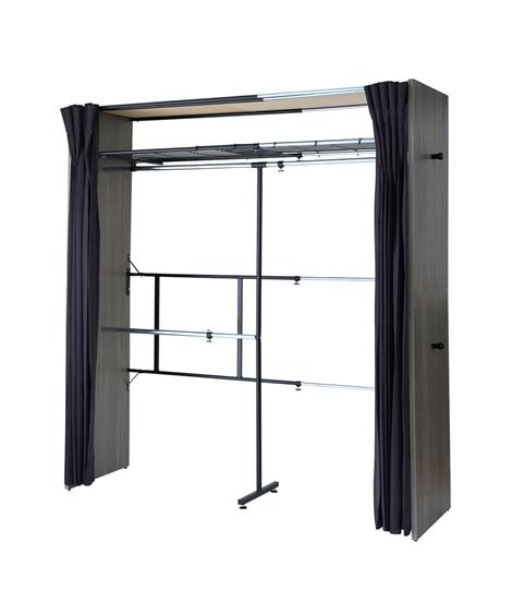 カーテンが洗える!伸縮式木製壁面デザインクローゼットハンガー(サイドフック付き) ハンガーラック・ワードローブ, Clothes racks(ニッセン、nissen)