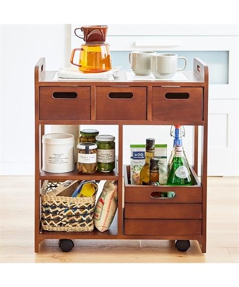 テーブル下に収納できる木製キッチンワゴン【幅56cm】 キッチンワゴン, Kitchen wagons(ニッセン、nissen)