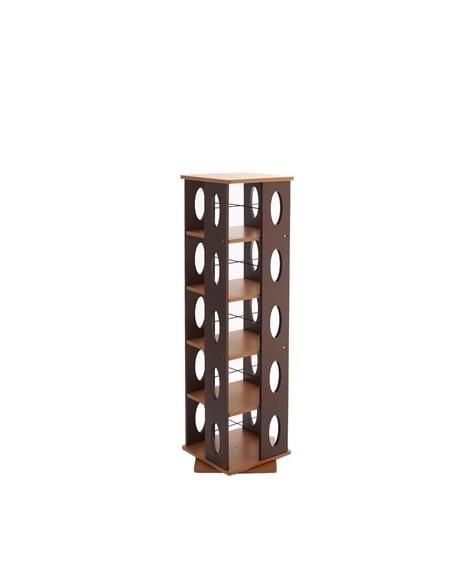 回転収納ラック【幅34cm】 書棚・本棚・ブックシェルフ