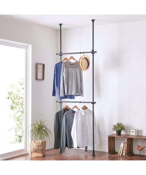伸縮式突っ張り2段ハンガーラック ハンガーラック・ワードローブ, Clothes racks(ニッセン、nissen)
