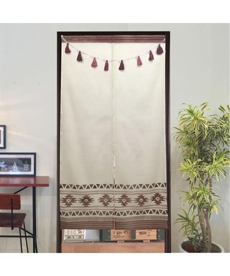 タッセルガーランド付き!綿100%のネイティブ柄のれん のれん・カフェカーテン, Curtains(ニッセン、nissen)