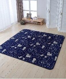 洗える。ネコ柄こたつ敷布団(ラグ兼用) ブラックフォーマルの商品画像