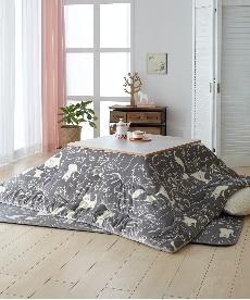 【洗える】ネコ柄もっちりふわふわ薄掛けこたつ掛布団 こたつ掛け布団の小イメージ
