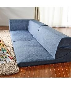 【日本製】コーナーフロアソファー3点セット(デニム調生地) カウチ・コーナーソファー(ニッセン家具)の商品画像