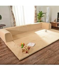 カバーが洗えるフロアマット付ローソファー(起毛生地) カウチ・コーナーソファー(ニッセン家具)の商品画像