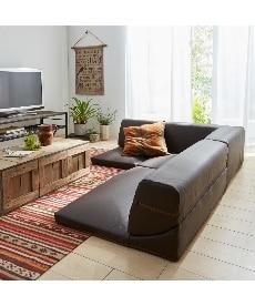合皮レザー コーナーフロアソファー3点セット カウチ・コーナーソファー(ニッセン家具)の商品画像