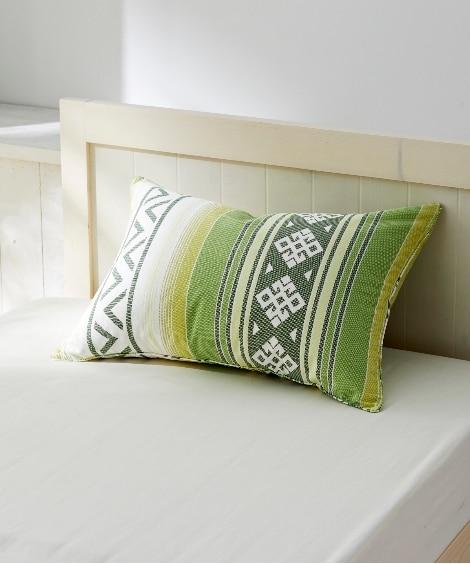 綿100%バッキンガムプリントのキリム柄枕カバー(ファスナー...