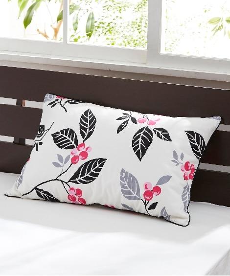 綿100%オックスフォード生地 木の実柄の枕カバー(ファスナ...