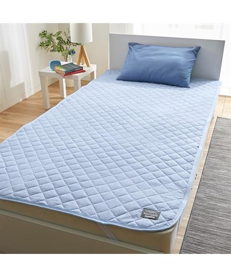 先染め洗いざらしの綿100%敷パッド 敷きパッド・ベッドパッ...