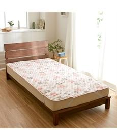 秋から春先まで使える!綿100%フラノの敷パッド(花柄) 敷きパッド・ベッドパッドの商品画像