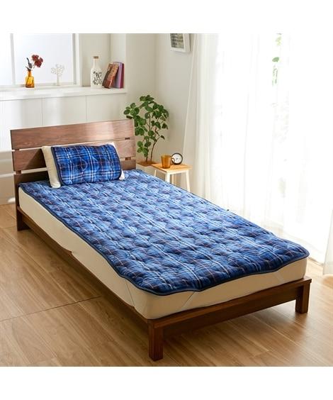 吸湿発熱チェック柄のふっくらあたたか敷パッド 敷きパッド・ベッドパッド