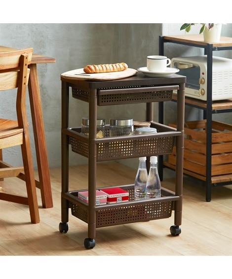 ウッドテーブルワゴン キッチンカウンター・キッチンワゴン...
