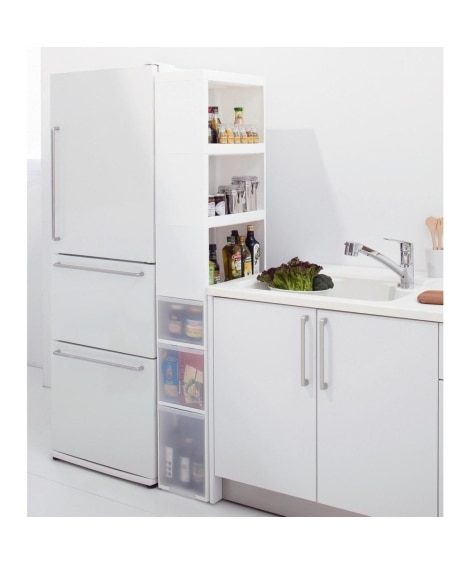 W=白; 積み重ねができるキッチンスリムストッカー・ワゴン2個セット(すき間収納・デッド