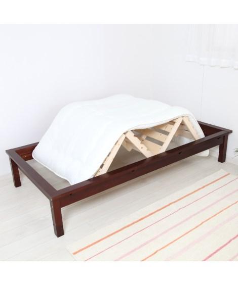 布団が干せる天然木フラットすのこベッド(高さ調整機能付き) ...