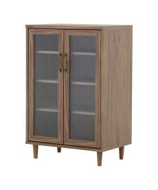 アンティーク木目調 波ガラスキャビネット リビングボード・チェストの商品画像