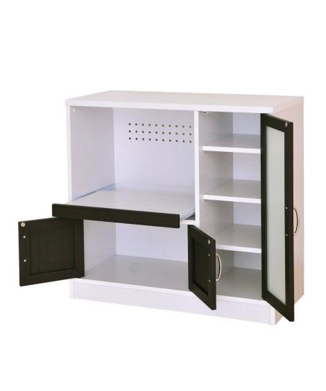 カラーコントラストがスタイリッシュな食器棚(レンジボード付)...
