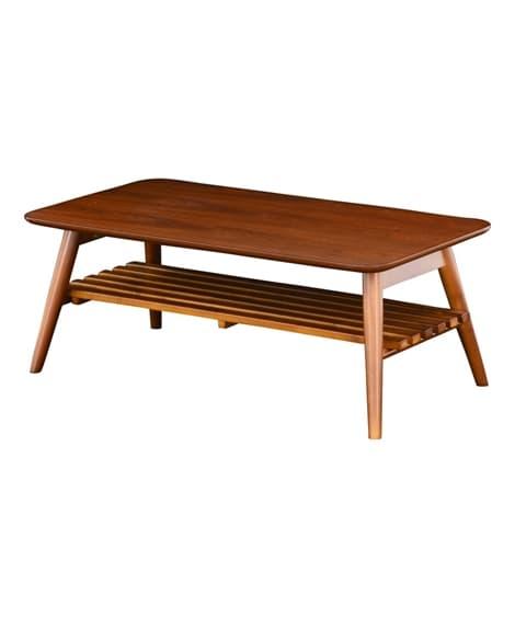 折りたたみができる便利な棚付リビングテーブル ローテーブル・...