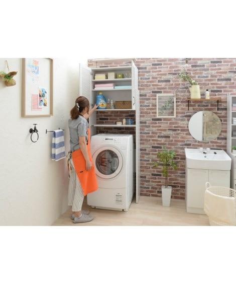 【荷造送料0円実施中】木目調ホワイトカラーの洗濯機ラック ラ...