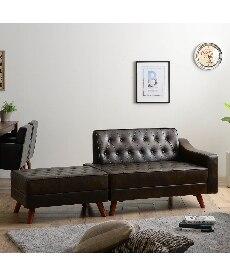 コンパクト 合皮カウチソファー 2・3人掛けソファー(ニッセン家具)の商品画像