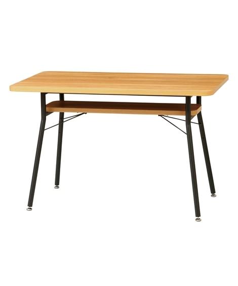 木天板×ブラックスチールがおしゃれなダイニングテーブル ダイ...