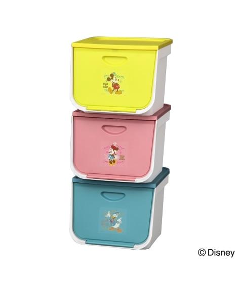 【日本製】ディズニーのフラップ式収納ケースセット(3色セット) 衣装ケース・プラスチックケース・押入収納の商品画像