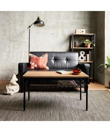 木目調天板がオシャレなメタルラックテーブル(ブラック×ヴィンテージウッド) ローテーブル・リビングテーブル, Tables(ニッセン、nissen)