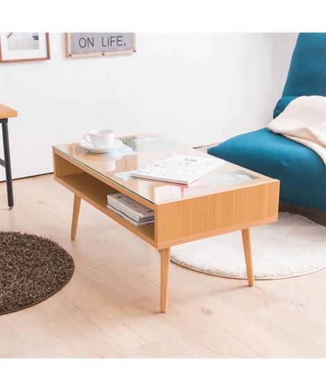ガラス天板の収納付きディスプレイテーブル ローテーブル・リビングテーブル, Tables(ニッセン、nissen)
